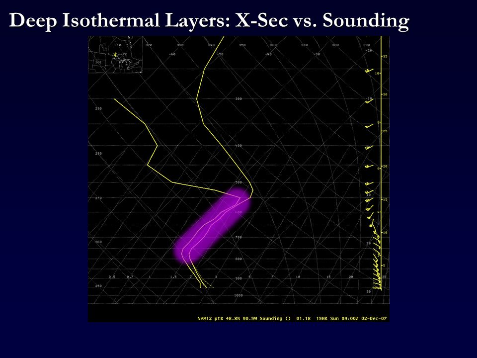 Deep Isothermal Layers: X-Sec vs. Sounding