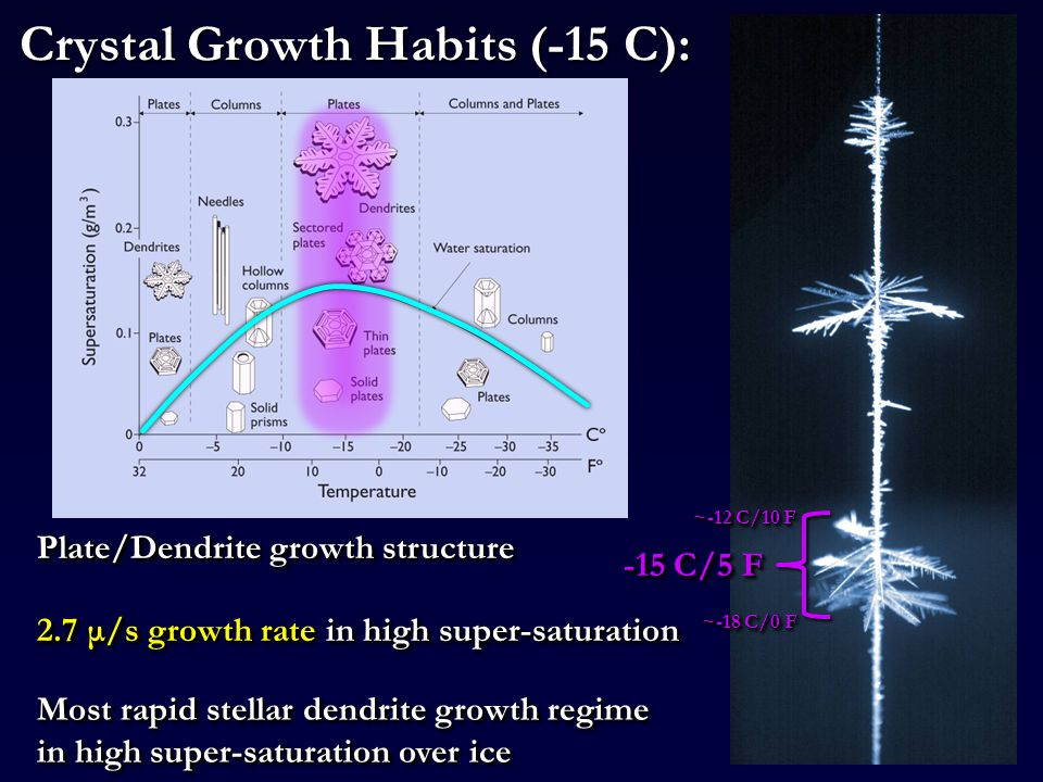 Crystal Growth Habits (-15 C): -15 C/5 F Most rapid stellar dendrite growth regime in high super-saturation over ice 2.7 μ/s growth rate in high super-saturation ~-12 C/10 F ~-18 C/0 F Plate/Dendrite growth structure