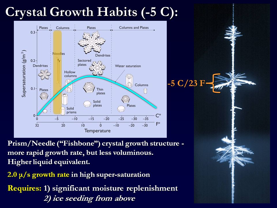 -5 C/23 F Prism/Needle ( Fishbone ) crystal growth structure - more rapid growth rate, but less voluminous.
