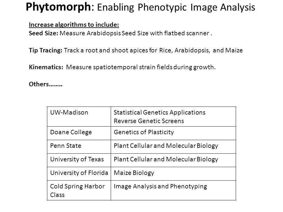 UW-MadisonStatistical Genetics Applications Reverse Genetic Screens Doane CollegeGenetics of Plasticity Penn StatePlant Cellular and Molecular Biology