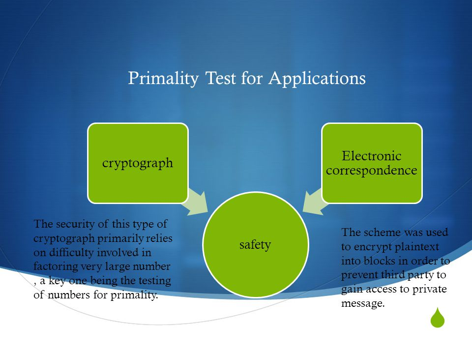  Primality Test for Applications safety cryptograph Electronic correspondence The security of this type of cryptograph primarily relies on difficulty involved in factoring very large number, a key one being the testing of numbers for primality.