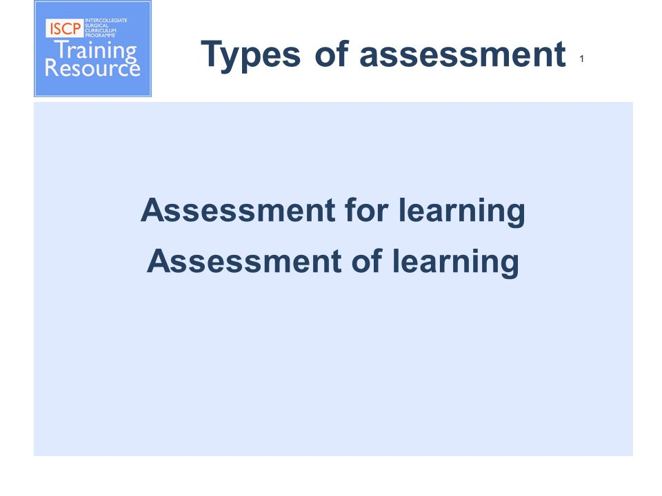 Types of assessment 1 Assessment for learning Assessment of learning