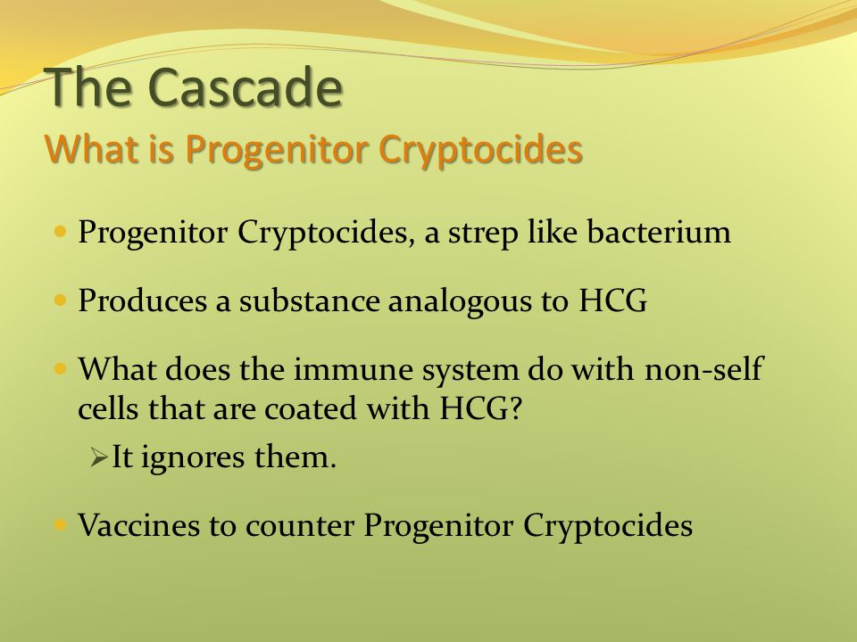 The Cascade What is Progenitor Cryptocides Progenitor Cryptocides, a strep like bacterium Produces a substance analogous to HCG What does the immune system do with non-self cells that are coated with HCG.