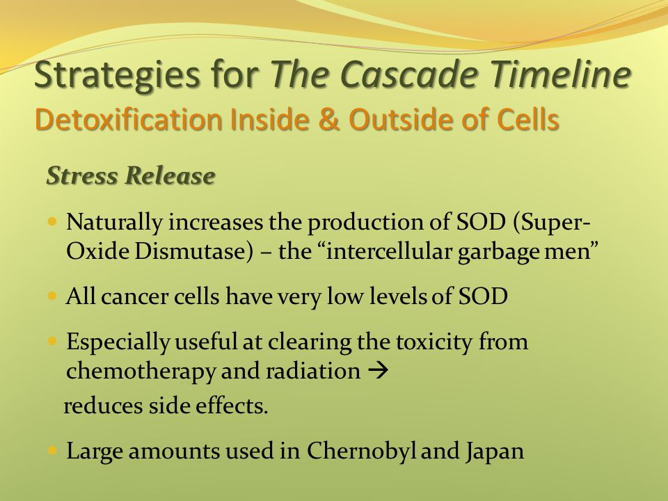 Strategies for The Cascade Timeline Detoxification Inside & Outside of Cells Stress Release Naturally increases the production of SOD (Super- Oxide Dismutase) – the intercellular garbage men All cancer cells have very low levels of SOD Especially useful at clearing the toxicity from chemotherapy and radiation  reduces side effects.