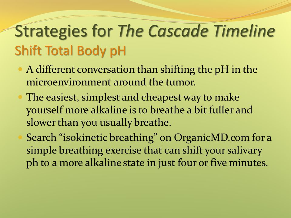 Strategies for The Cascade Timeline Shift Total Body pH A different conversation than shifting the pH in the microenvironment around the tumor. The ea