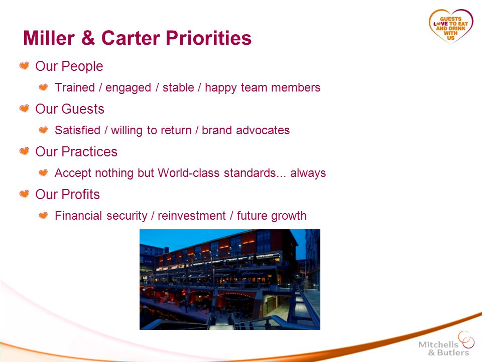 Miller & Carter Priorities Our People Trained / engaged / stable / happy team members Our Guests Satisfied / willing to return / brand advocates Our Practices Accept nothing but World-class standards...