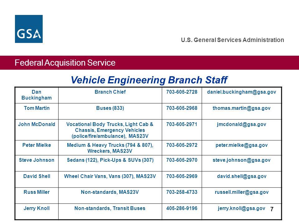 Federal Acquisition Service U.S. General Services Administration Vehicle Engineering Branch Staff Dan Buckingham Branch Chief703-605-2728daniel.buckin