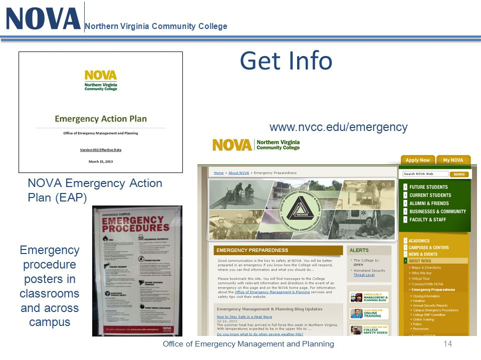 14 NOVA Northern Virginia Community College Office of Emergency Management and Planning Get Info NOVA Emergency Action Plan (EAP) Emergency procedure posters in classrooms and across campus www.nvcc.edu/emergency