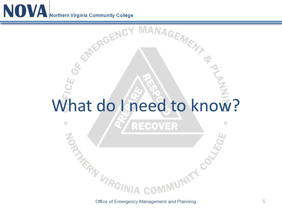 5 NOVA Northern Virginia Community College Office of Emergency Management and Planning What do I need to know