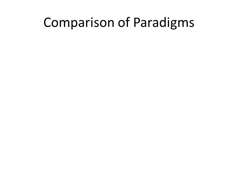 Comparison of Paradigms