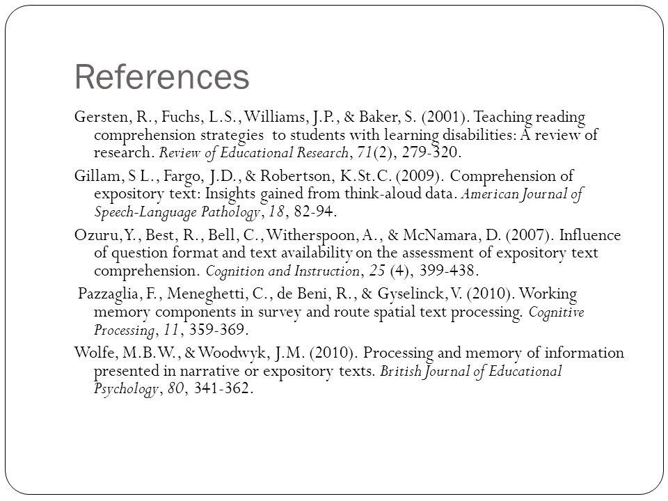 References Gersten, R., Fuchs, L.S., Williams, J.P., & Baker, S.