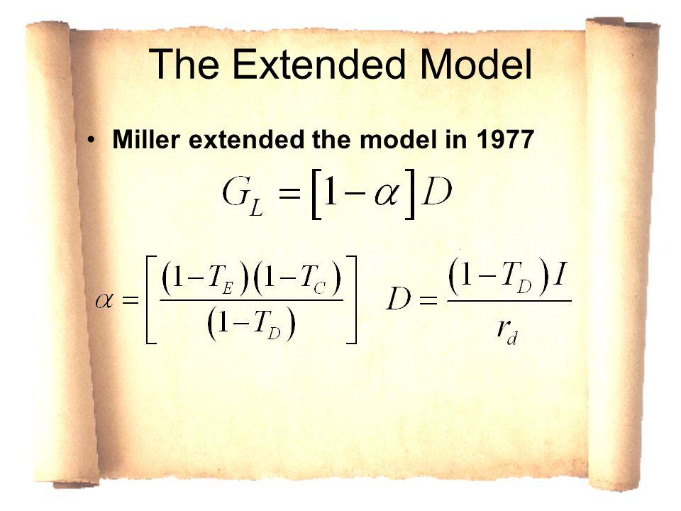 The Extended Model Miller extended the model in 1977