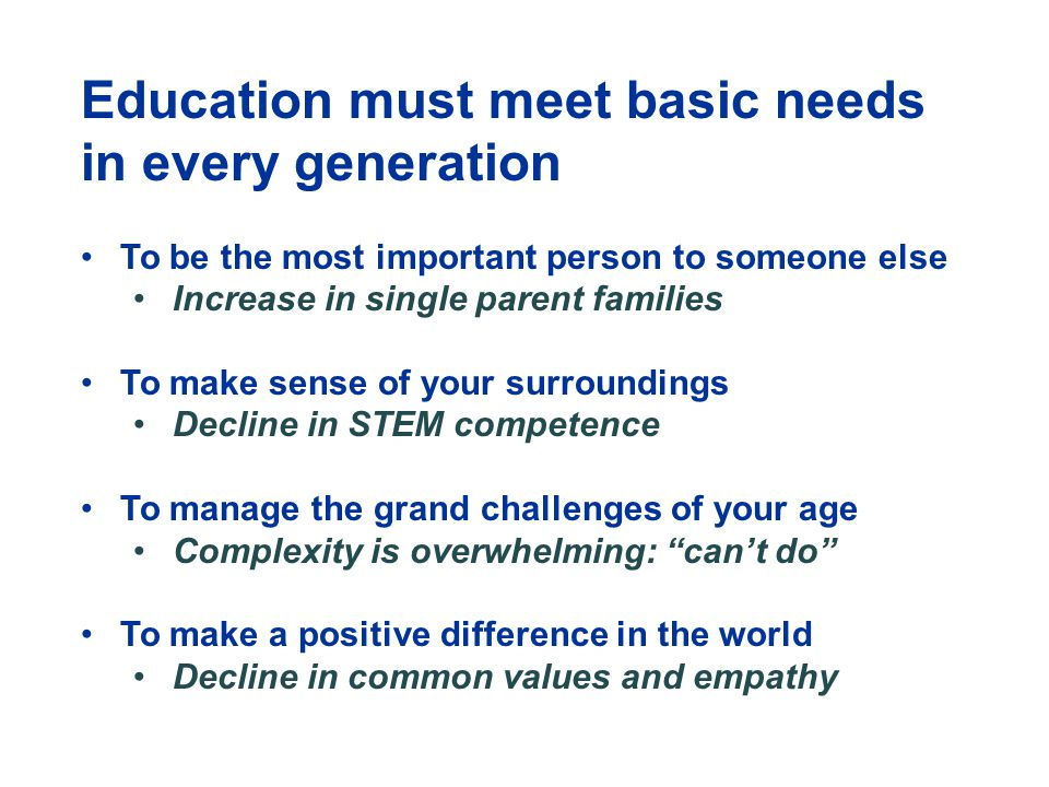 Education must meet basic needs in every generation To be the most important person to someone else Increase in single parent families To make sense of your surroundings Decline in STEM competence To manage the grand challenges of your age Complexity is overwhelming: can't do To make a positive difference in the world Decline in common values and empathy