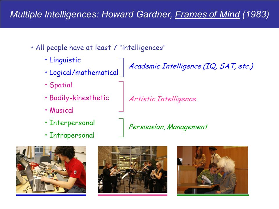 "All people have at least 7 ""intelligences"" Linguistic Logical/mathematical Spatial Bodily-kinesthetic Musical Interpersonal Intrapersonal Academic Int"