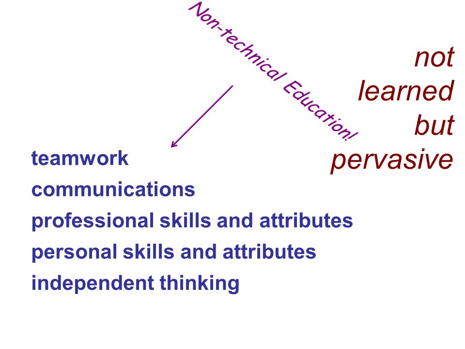 professional skills and attributes personal skills and attributes independent thinking communications teamwork not learned but pervasive