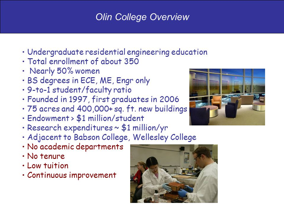 Undergraduate residential engineering education Total enrollment of about 350 Nearly 50% women BS degrees in ECE, ME, Engr only 9-to-1 student/faculty