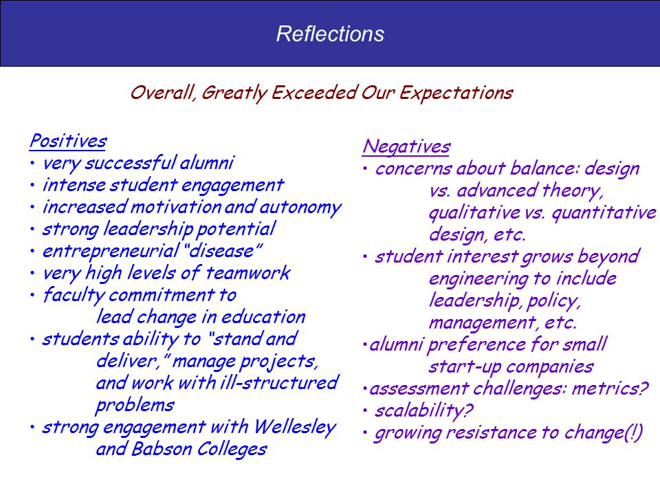 Reflections Positives very successful alumni intense student engagement increased motivation and autonomy strong leadership potential entrepreneurial disease very high levels of teamwork faculty commitment to lead change in education students ability to stand and deliver, manage projects, and work with ill-structured problems strong engagement with Wellesley and Babson Colleges Negatives concerns about balance: design vs.