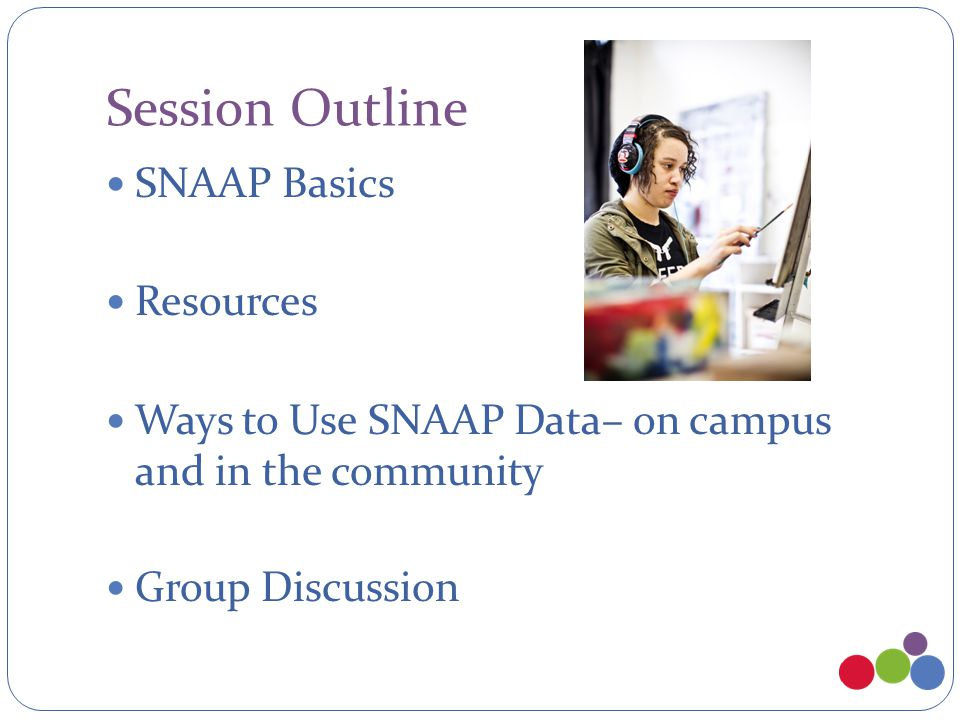 Session Outline SNAAP Basics Resources Ways to Use SNAAP Data– on campus and in the community Group Discussion