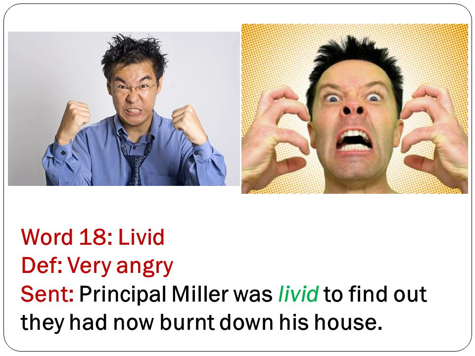 Word 18: Livid Def: Very angry Sent: Principal Miller was livid to find out they had now burnt down his house.