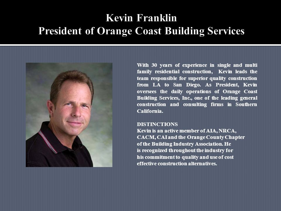 With 30 years of experience in single and multi family residential construction, Kevin leads the team responsible for superior quality construction fr