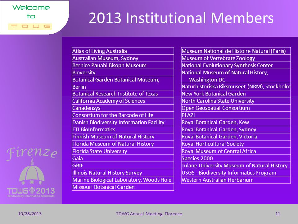 Welcome to 2013 Membership 10/28/2013TDWG Annual Meeting, Florence10 100 Individual 37 Institutional