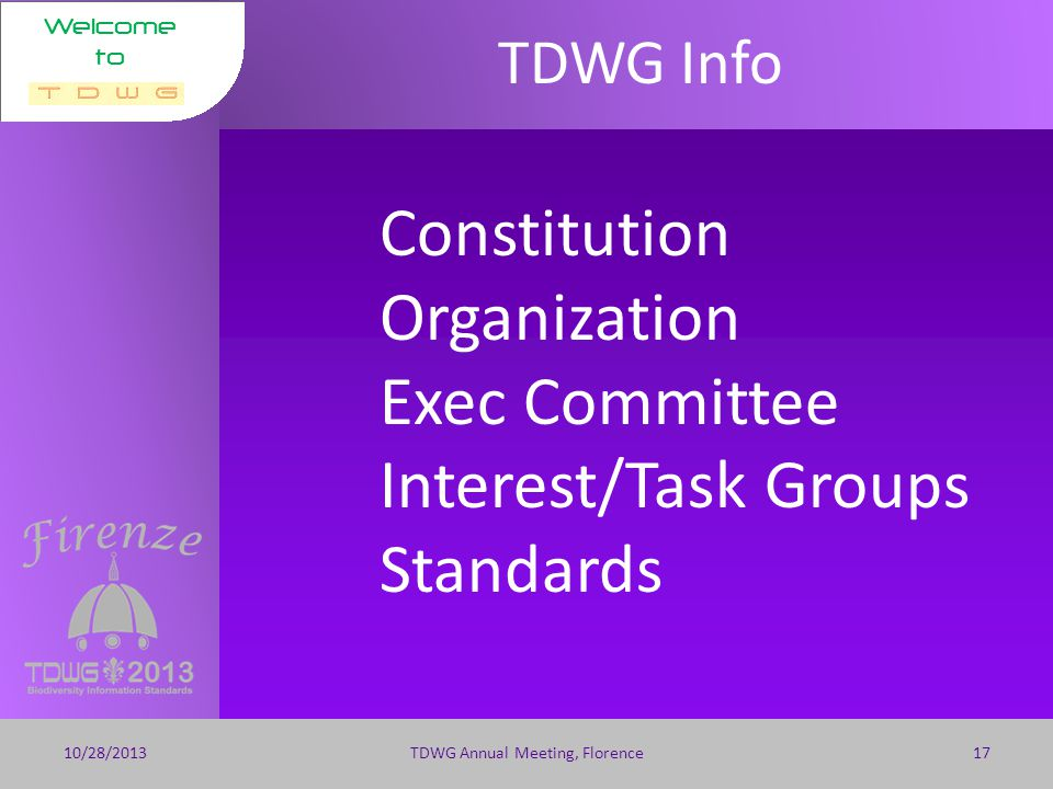 Welcome to 2014 Meeting 10/28/2013TDWG Annual Meeting, Florence16 Program Chair Hank Bart