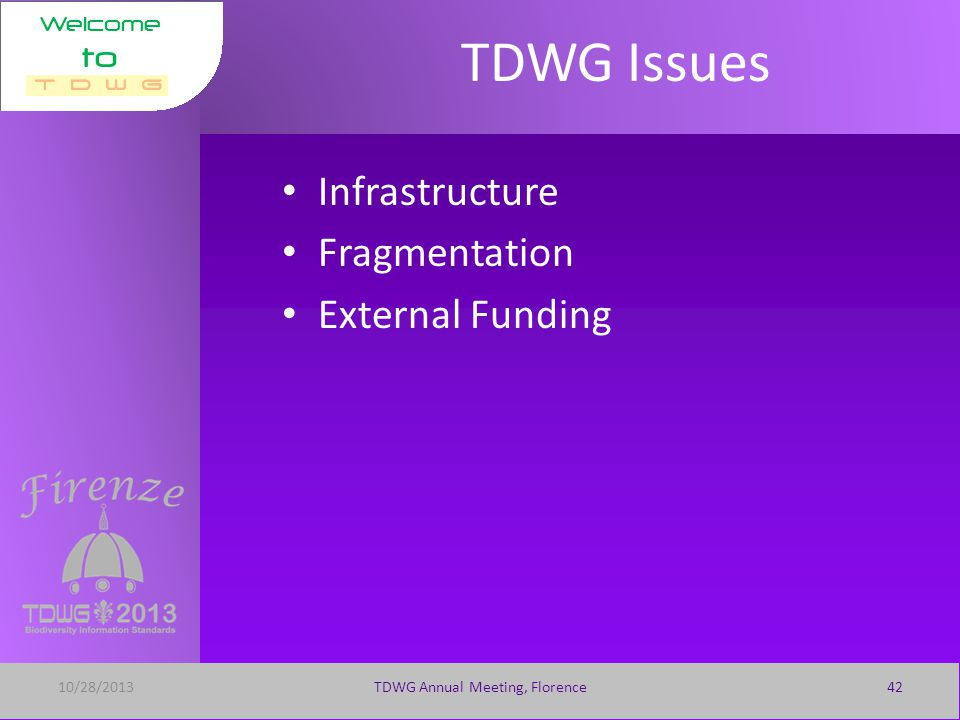 Welcome to 10/28/2013TDWG Annual Meeting, Florence41 Prior Standards Title Activity (Task or Interest Group) CategoryDate Published International Transfer Format for Botanic Garden Plant Records Technical Specification 01-Oct- 1987 Floristic Regions of the World Status and Categories 01-Oct- 1986 Taxonomic Literature, ed.