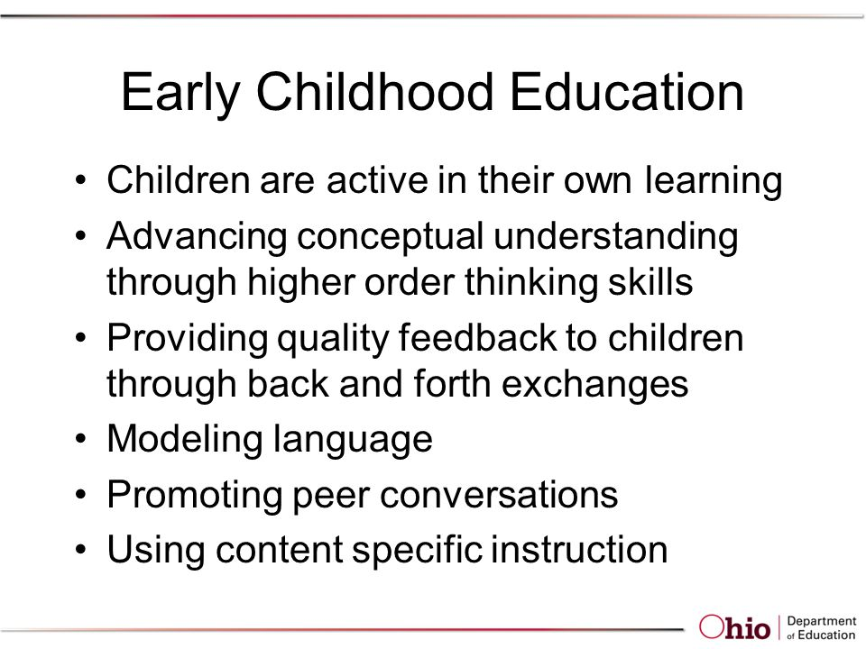 Early Childhood Education Children are active in their own learning Advancing conceptual understanding through higher order thinking skills Providing quality feedback to children through back and forth exchanges Modeling language Promoting peer conversations Using content specific instruction