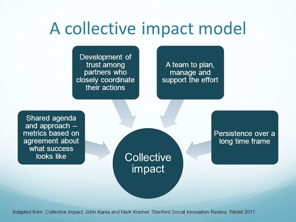 A collective impact model Adapted from: Collective Impact, John Kania and Mark Kramer, Stanford Social Innovation Review, Winter 2011