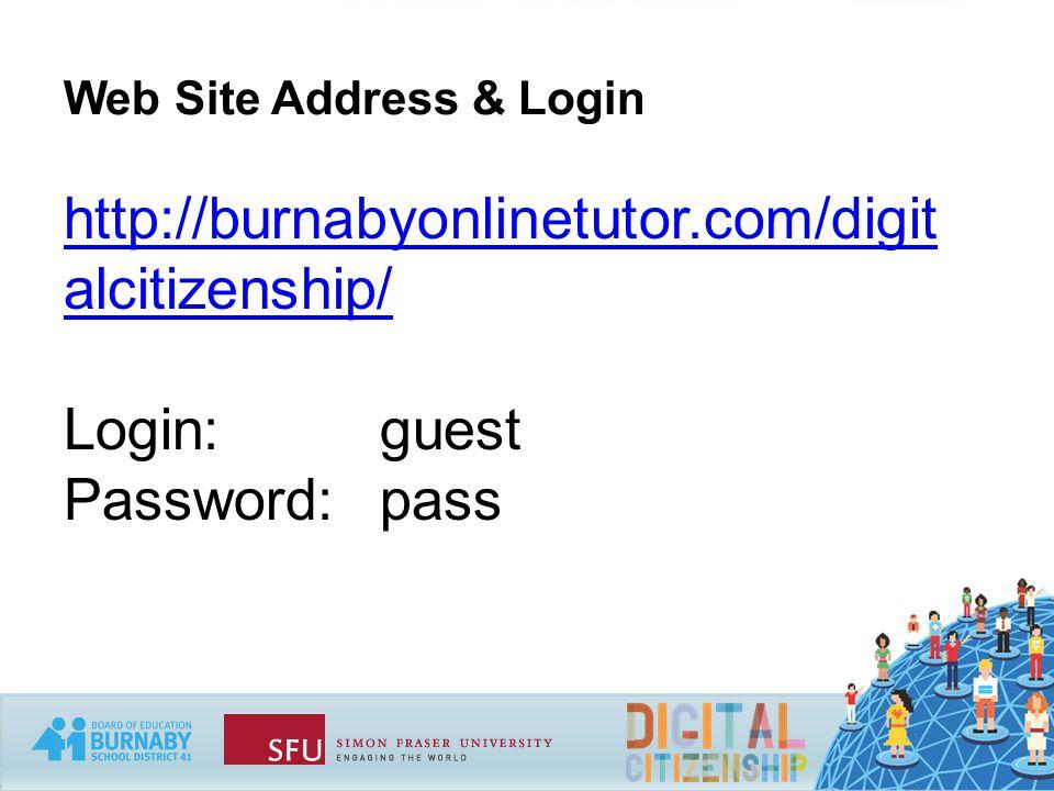 Web Site Address & Login http://burnabyonlinetutor.com/digit alcitizenship/ Login: guest Password:pass