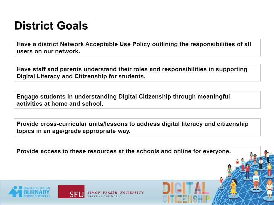 District Goals Have a district Network Acceptable Use Policy outlining the responsibilities of all users on our network.