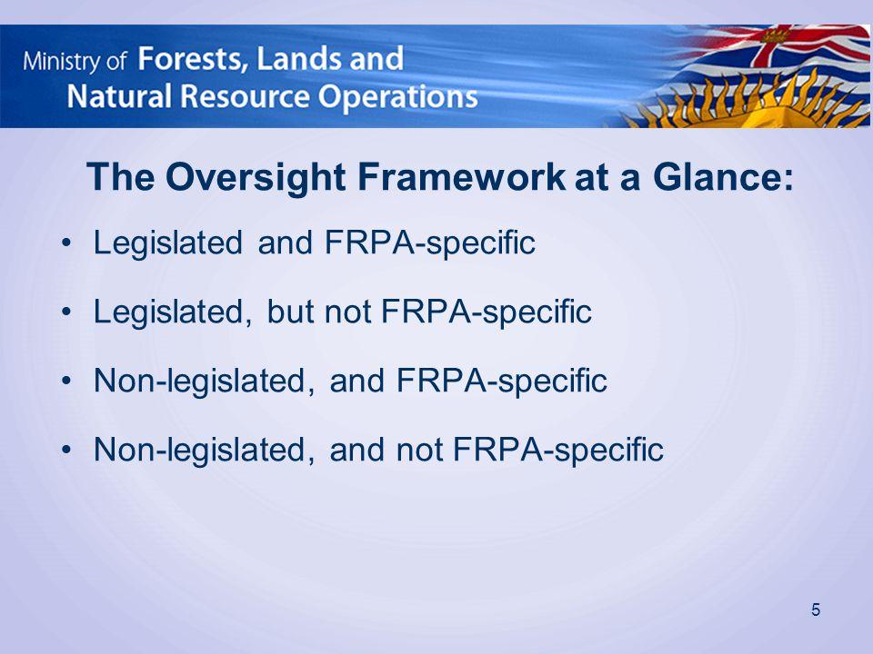 The Oversight Framework at a Glance: Legislated and FRPA-specific Legislated, but not FRPA-specific Non-legislated, and FRPA-specific Non-legislated,