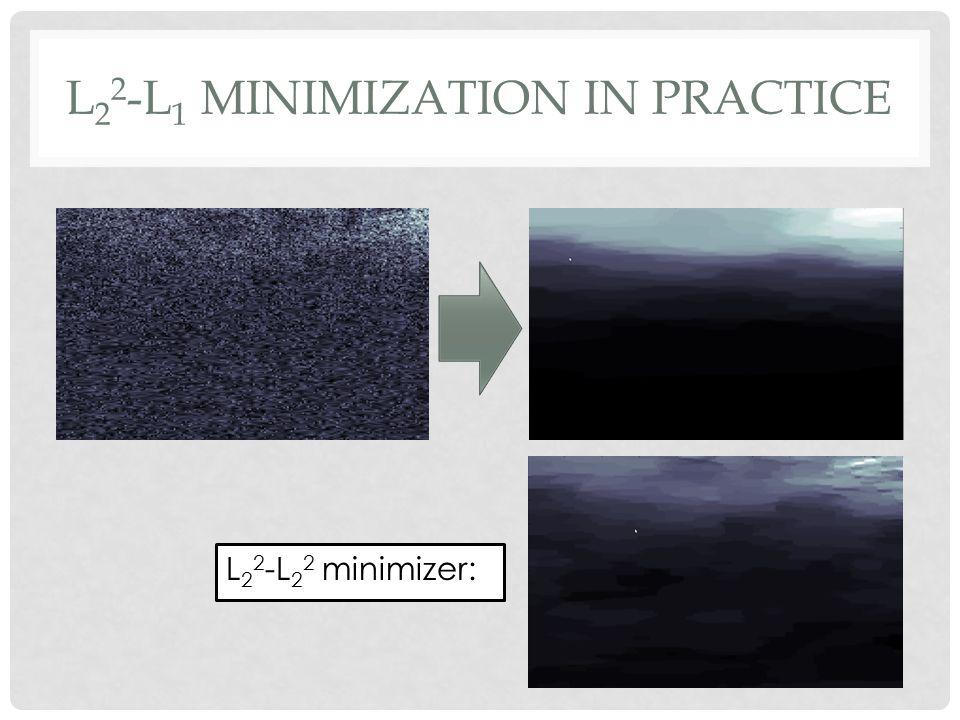L 2 2 -L 1 MINIMIZATION IN PRACTICE L 2 2 -L 2 2 minimizer: