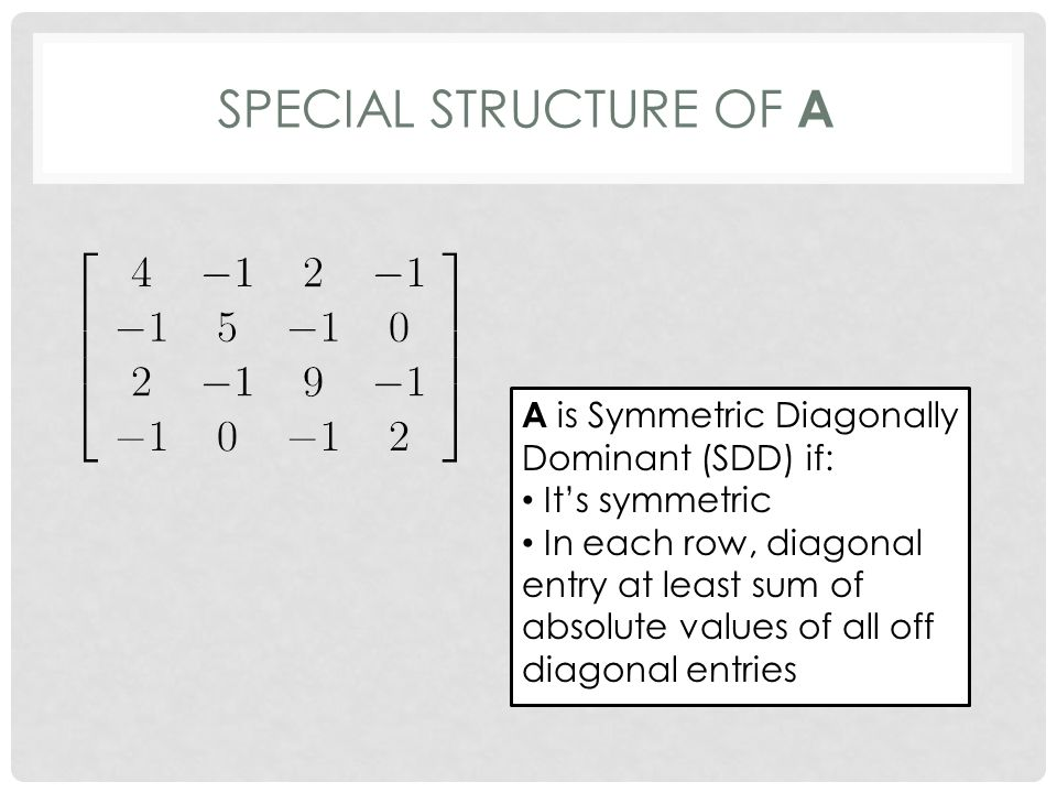 SPECIAL STRUCTURE OF A A is Symmetric Diagonally Dominant (SDD) if: It's symmetric In each row, diagonal entry at least sum of absolute values of all off diagonal entries