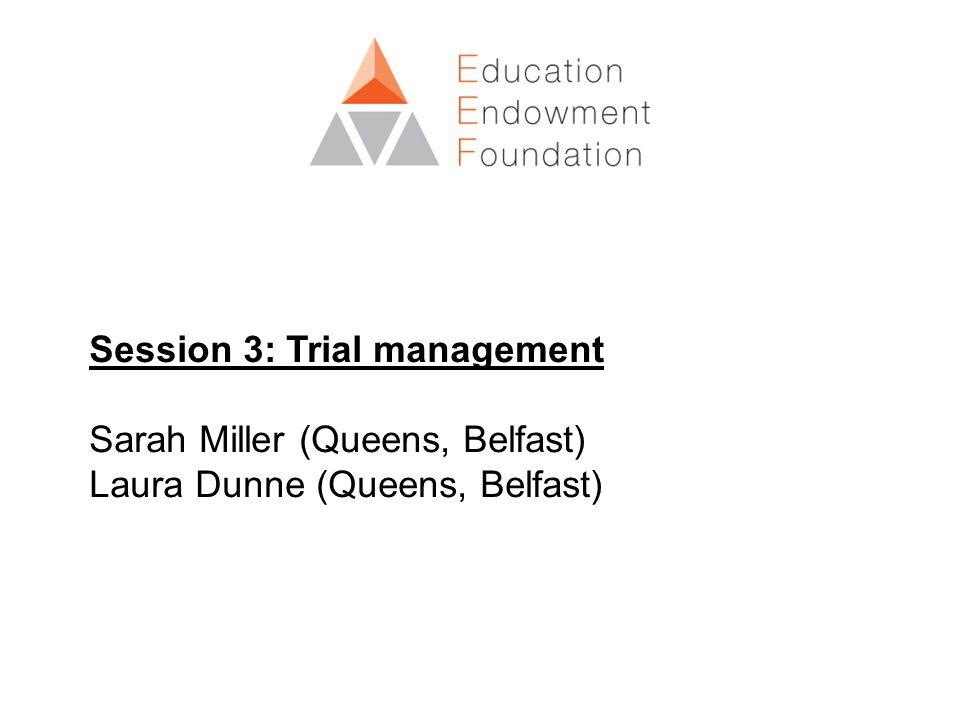 Session 3: Trial management Sarah Miller (Queens, Belfast) Laura Dunne (Queens, Belfast)