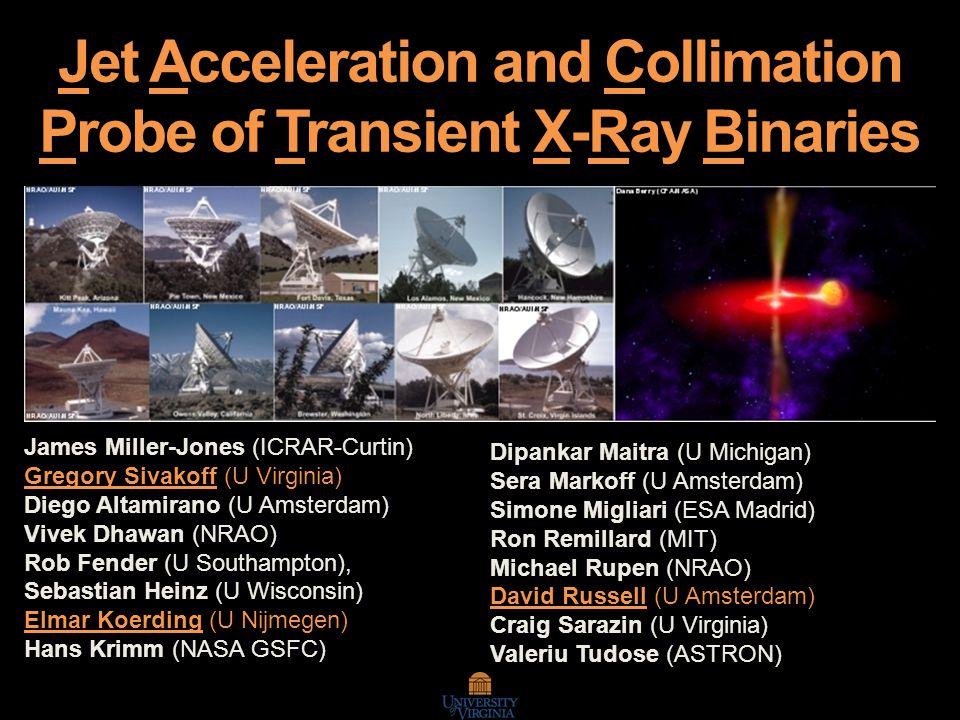 Jet Acceleration and Collimation Probe of Transient X-Ray Binaries James Miller-Jones (ICRAR-Curtin) Gregory Sivakoff (U Virginia) Diego Altamirano (U