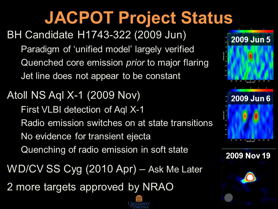 JACPOT Project Status BH Candidate H1743-322 (2009 Jun) Paradigm of 'unified model' largely verified Quenched core emission prior to major flaring Jet line does not appear to be constant Atoll NS Aql X-1 (2009 Nov) First VLBI detection of Aql X-1 Radio emission switches on at state transitions No evidence for transient ejecta Quenching of radio emission in soft state WD/CV SS Cyg (2010 Apr) – Ask Me Later 2 more targets approved by NRAO 2009 Jun 5 2009 Jun 6 2009 Nov 19