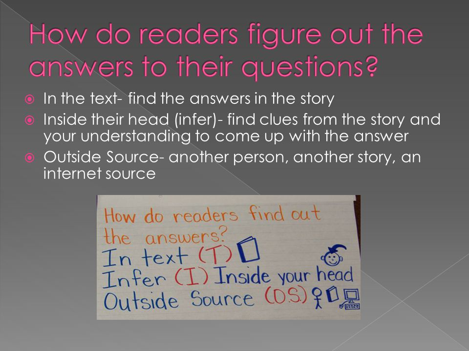  In the text- find the answers in the story  Inside their head (infer)- find clues from the story and your understanding to come up with the answer