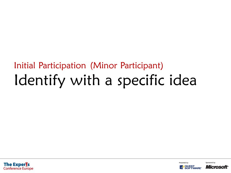 Initial Participation (Minor Participant) Identify with a specific idea