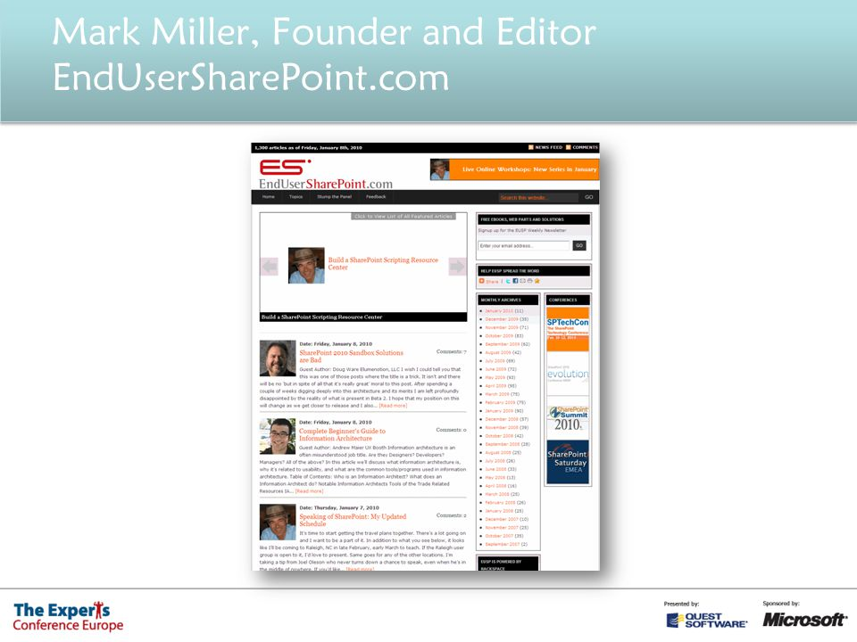 Mark Miller, Founder and Editor EndUserSharePoint.com