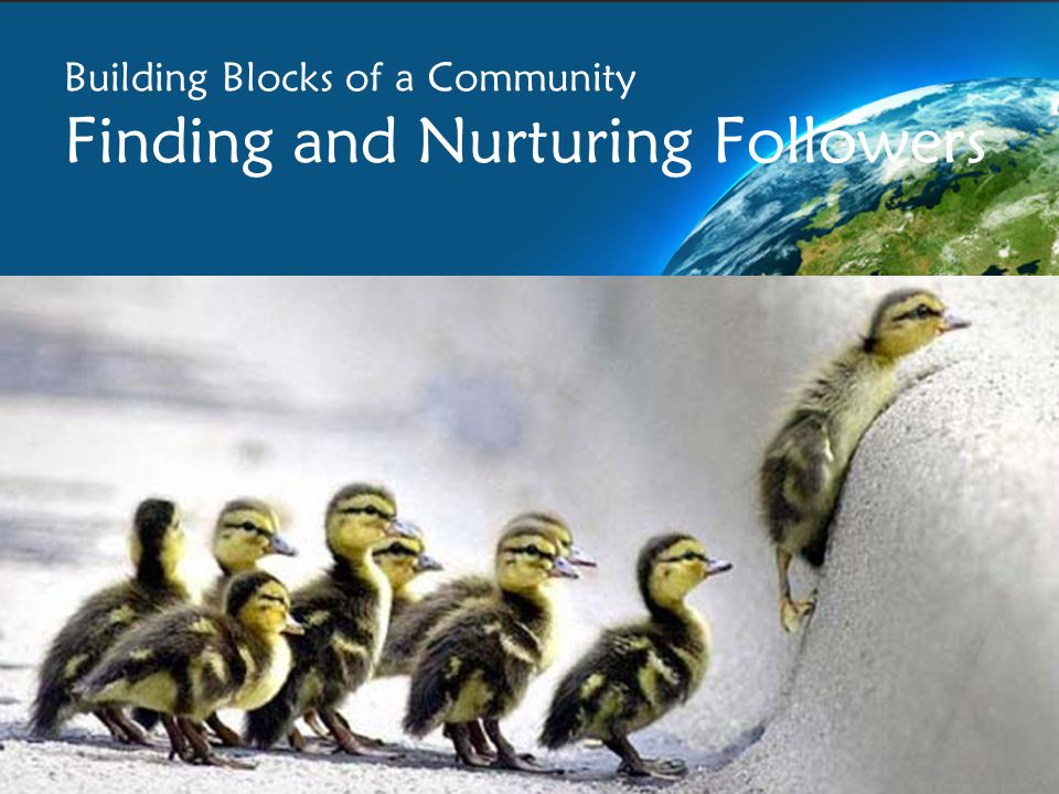 Building Blocks of a Community Finding and Nurturing Followers