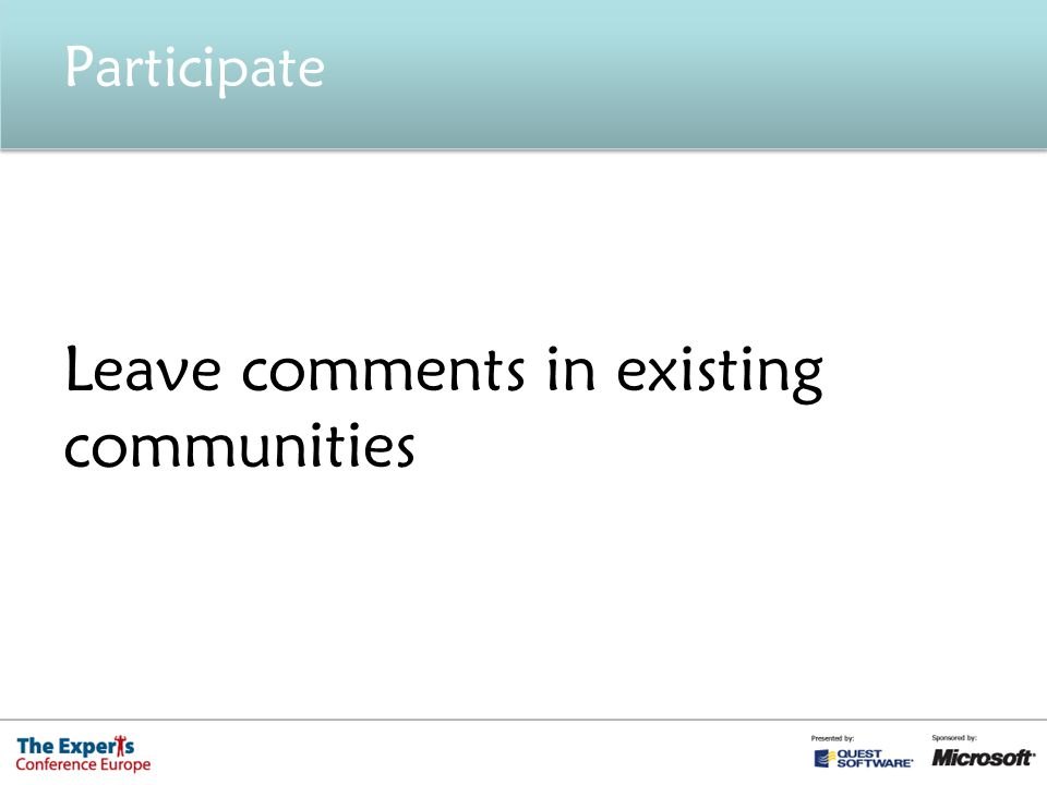 Participate Leave comments in existing communities