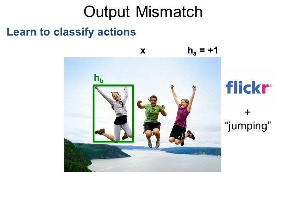 "Output Mismatch Learn to classify actions + ""jumping"" xh a = +1 hbhb"