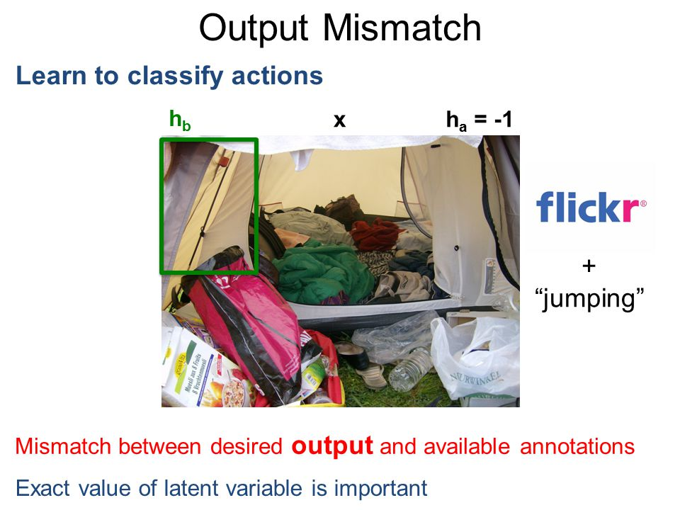"Output Mismatch Learn to classify actions + ""jumping"" xh a = -1 hbhb Mismatch between desired output and available annotations Exact value of latent v"