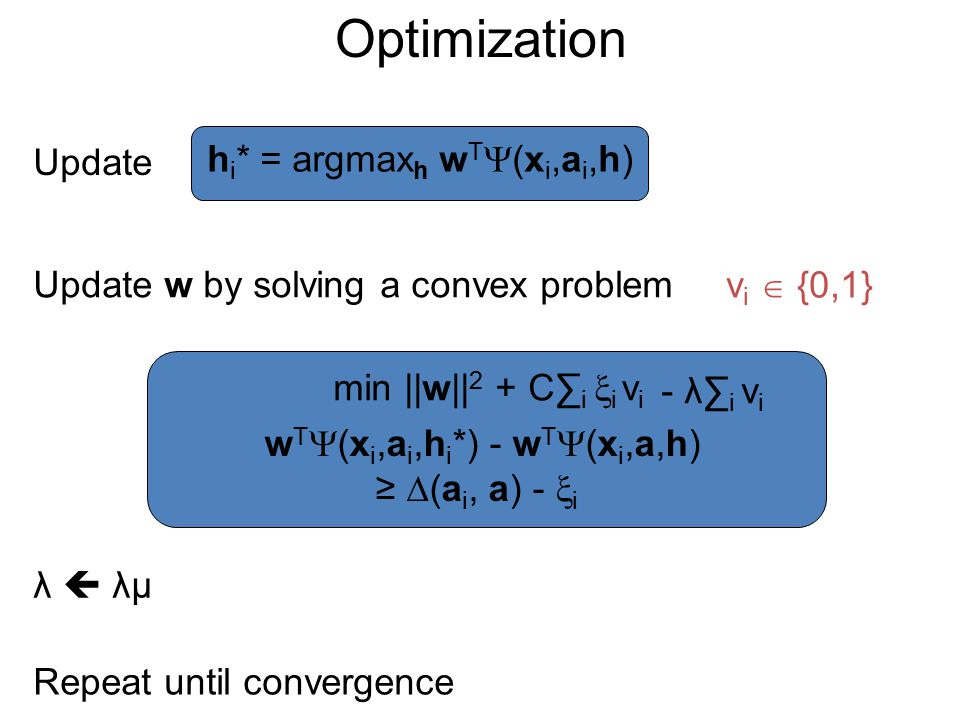 Optimization Update h i * = argmax h w T  (x i,a i,h) Update w by solving a convex problem min ||w|| 2 + C∑ i  i Repeat until convergence vivi v i 