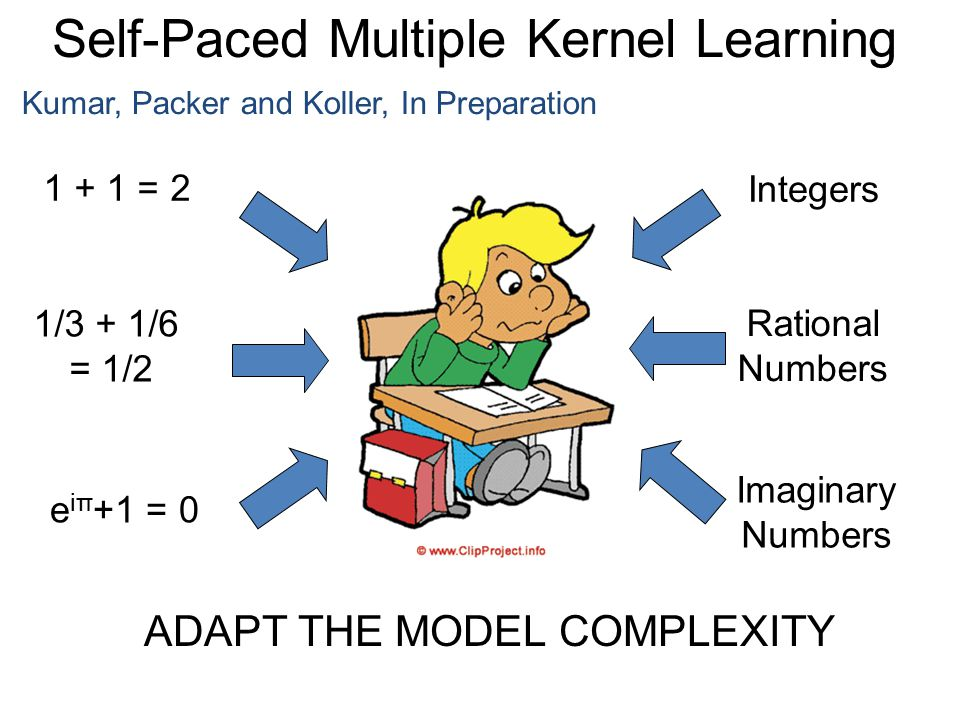Kumar, Packer and Koller, In Preparation 1 + 1 = 2 1/3 + 1/6 = 1/2 e iπ +1 = 0 Integers Rational Numbers Imaginary Numbers ADAPT THE MODEL COMPLEXITY