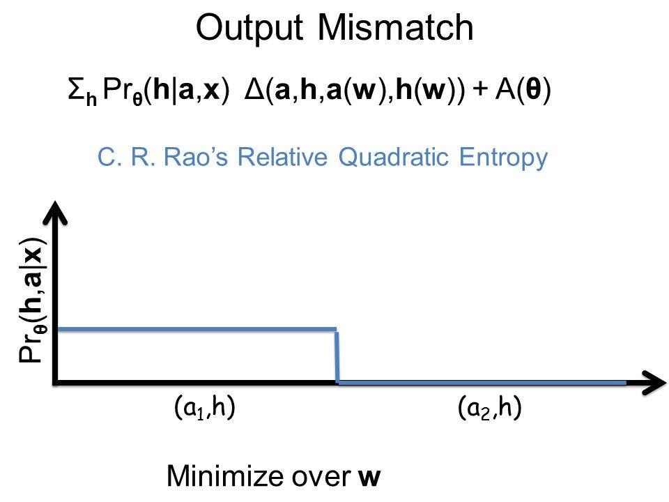 Output Mismatch Δ(a,h,a(w),h(w)) Σ h Pr θ (h|a,x)+ A(θ) C.