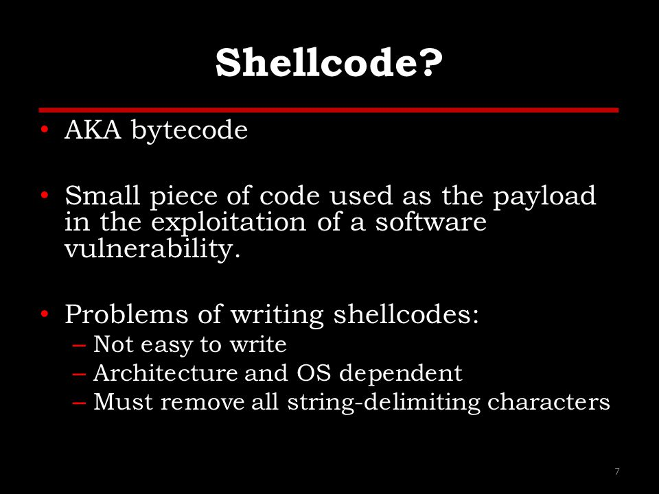 References (1) Papers/Presentations/Links: – ShellCode, http://www.blackhatlibrary.net/Shellcodehttp://www.blackhatlibrary.net/Shellcode – Introduction to win32 shellcoding, Corelan, http://www.corelan.be/index.php/2010/02/25/exploit-writing-tutorial- part-9-introduction-to-win32-shellcodeing/ http://www.corelan.be/index.php/2010/02/25/exploit-writing-tutorial- part-9-introduction-to-win32-shellcodeing/ – Hacking/Shellcode/Alphanumeric/x64 printable opcodes, http://skypher.com/wiki/index.php/Hacking/Shellcode/Alphanumeric/x 64_printable_opcodes http://skypher.com/wiki/index.php/Hacking/Shellcode/Alphanumeric/x 64_printable_opcodes – Learning Assembly Through Writing Shellcode, http://www.patternsinthevoid.net/blog/2011/09/learning-assembly- through-writing-shellcode/ http://www.patternsinthevoid.net/blog/2011/09/learning-assembly- through-writing-shellcode/ – Shellcoding for Linux and Windows Tutorial, http://www.vividmachines.com/shellcode/shellcode.html http://www.vividmachines.com/shellcode/shellcode.html – Unix Assembly Codes Development, http://pentest.cryptocity.net/files/exploitation/asmcodes-1.0.2.pdf http://pentest.cryptocity.net/files/exploitation/asmcodes-1.0.2.pdf – Win32 Assembly Components, http://pentest.cryptocity.net/files/exploitation/winasm-1.0.1.pdf http://pentest.cryptocity.net/files/exploitation/winasm-1.0.1.pdf 28