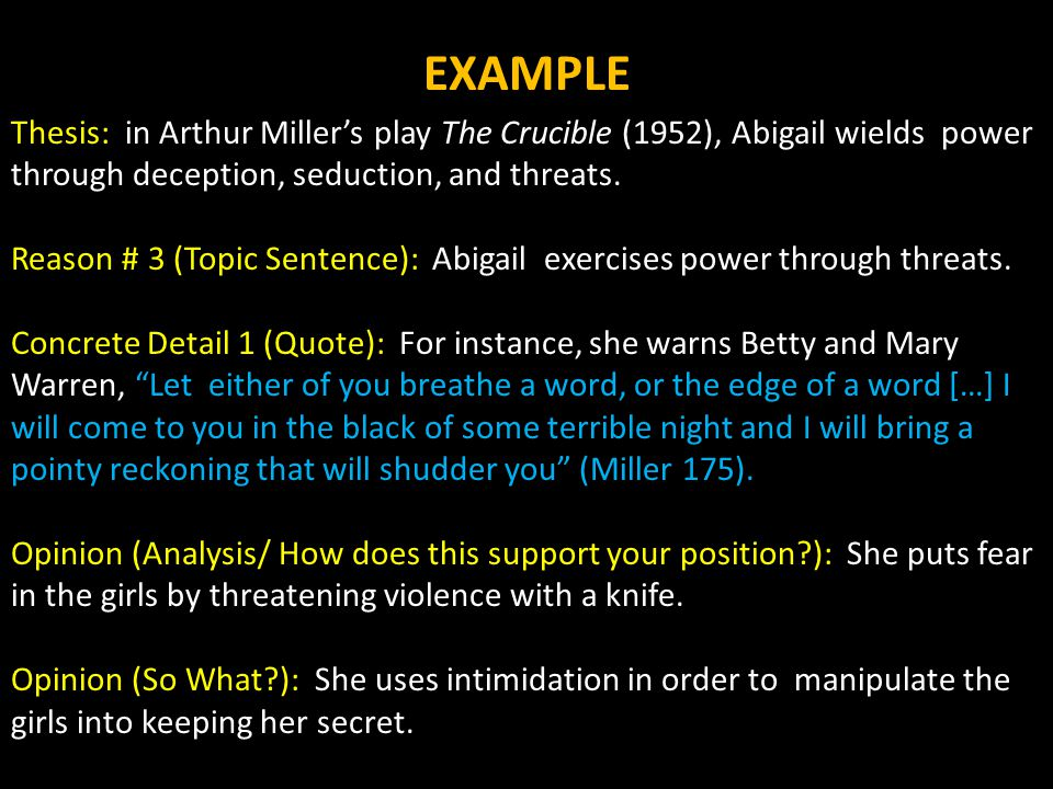 argumentative essay semester final exam writing component  thesis in arthur miller s play the crucible 1952 abigail wields power through
