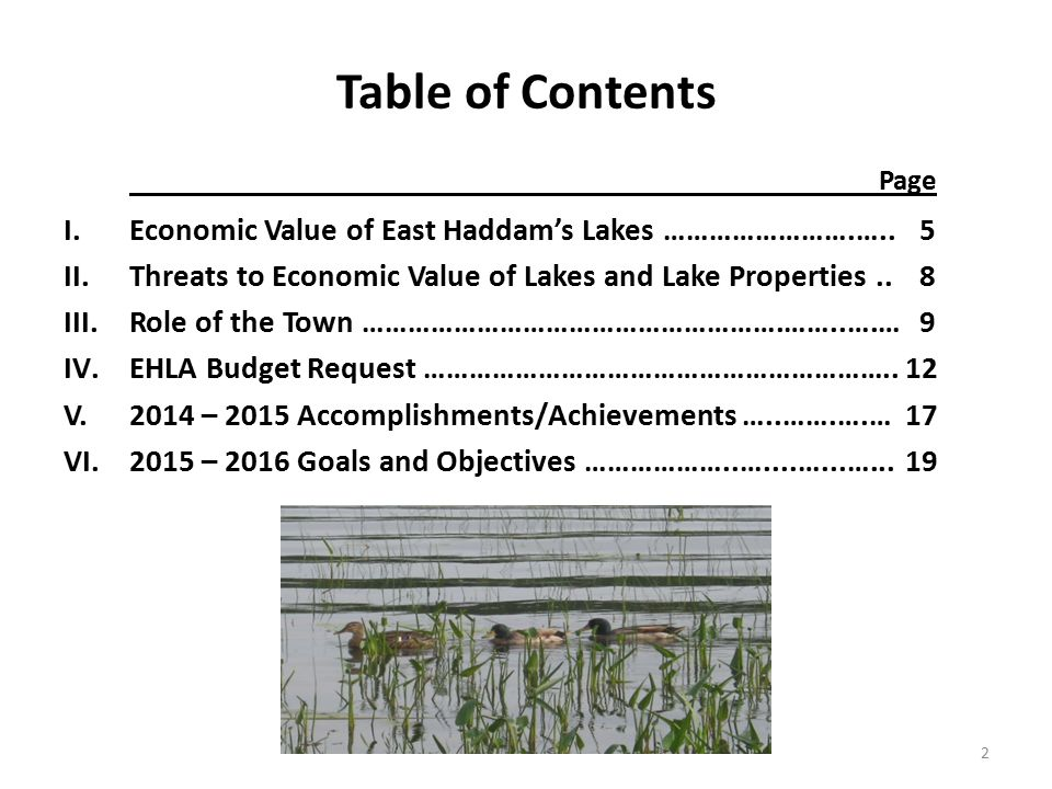 Table of Contents Page I.Economic Value of East Haddam's Lakes …………………….…..